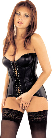 Leather Corset, Front & Back Lace, Low Cut Back