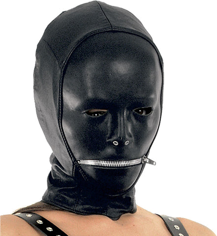 Molded Leather Mask Zipper Mouth, Cloth Backing
