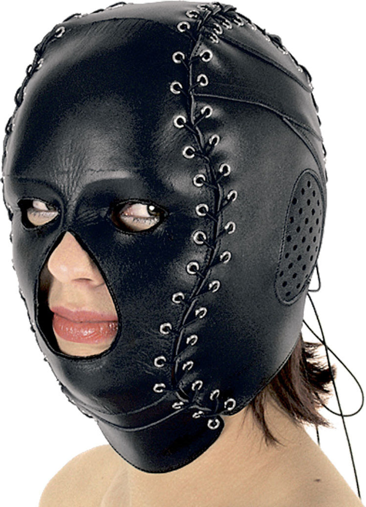 Molded Leather Mask Laceup Sides Open Mouth & Nose