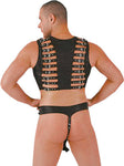 Black Leather Chest Harness, Buckles w/ Front Zipper