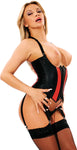 Leather Open Breasted Corset, 2 Colors, Halter Style, 4 Garters