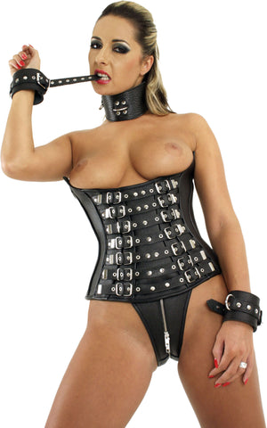 Leather Corset, Adjustable Buckles, Open Breasts