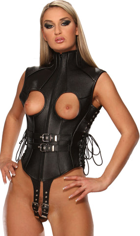 Leather Teddy, Open Breasted, Front Zipper, Lace Up Sides