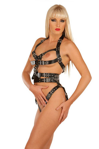 Black Leather Open Bust Harness, Open Crotch,D-Rings