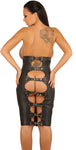 Black Leather Skirt, Zipper in Front, Open Back, Adjustable Straps
