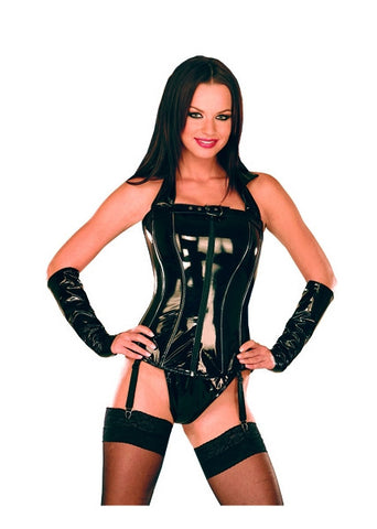 Black PVC Corset, Front Zipper, Buckle at Top & Straps