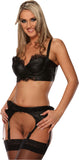 Black Leather Lacy Waistband Garter Belt