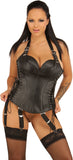 Leather Full Breast Corset, Side Laces, Back Zipper, Attached Garters