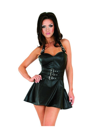 Black Leather Cincher Style Dress, Zipper Back