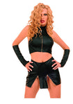 Black Leather Halter Style Top, Front Zip