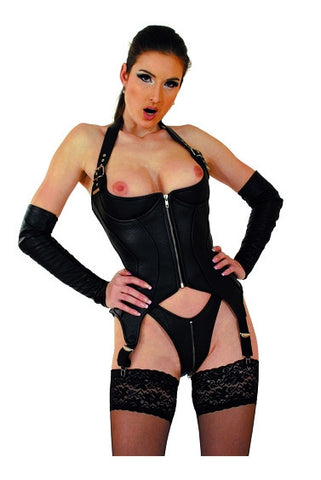 Leather Corset, Open Breasts, Halter Top,Garters, Lace Up Back