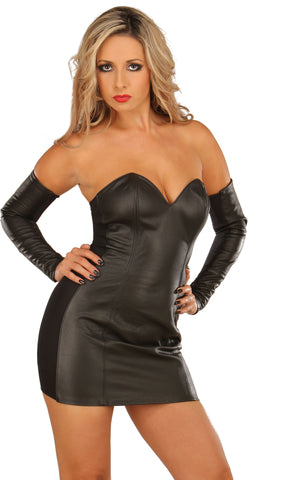 Black Leather Strapless Sweetheart Neckline Dress, Zipper Back