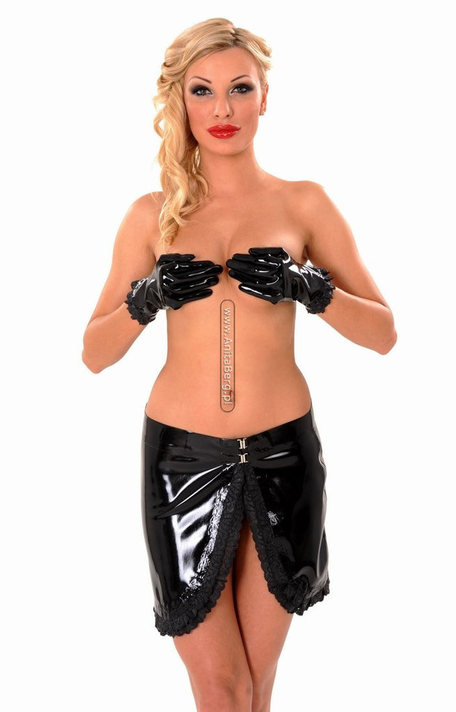Latex Skirt, Vertical Cut ,Lace Ruffle Trim