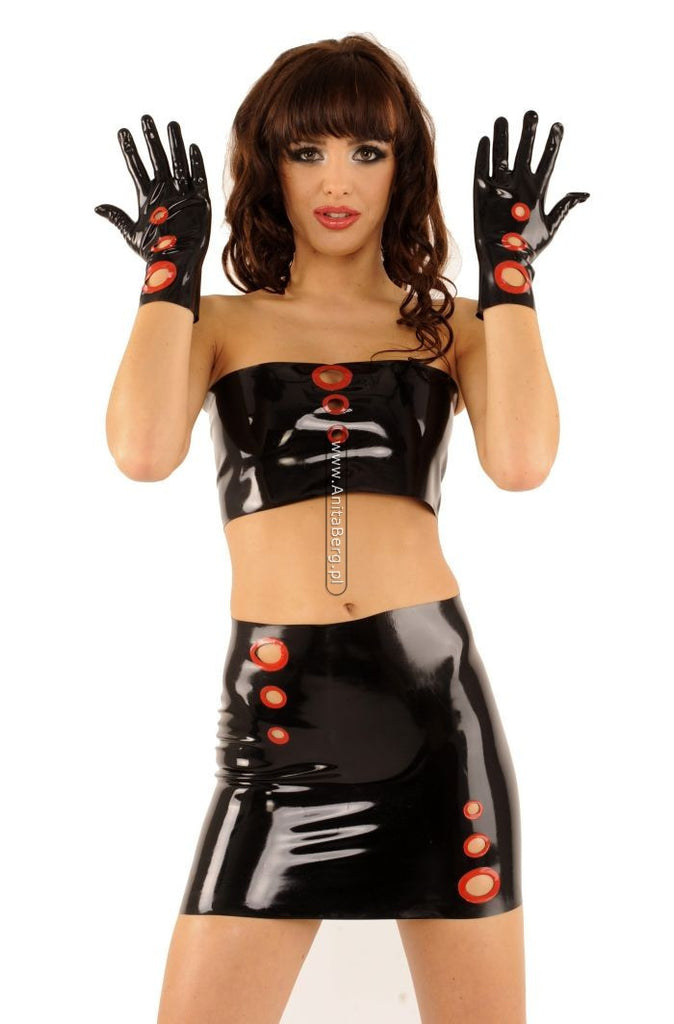 Latex Skirt, Two Colors, Cut Out Holes