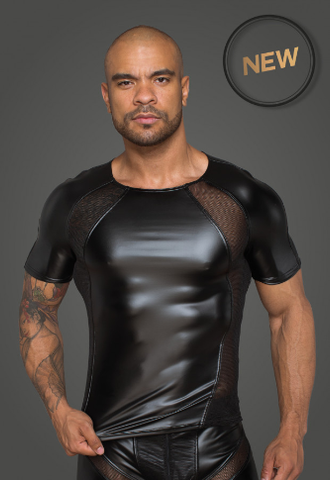 Men's T-shirt made of powerwetlook with 3D net inserts