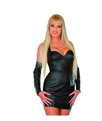 Black Leather Dess, Sweetheart Neckline, Stretch Fabric Back