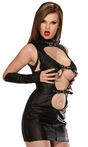 Black Leather Dress, Buckle Front & Collar