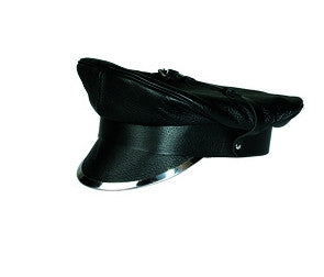Black Leather Cap with Metal Trim