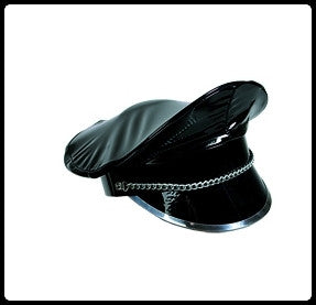 Black PVC Cap with Chain and Metal Brim