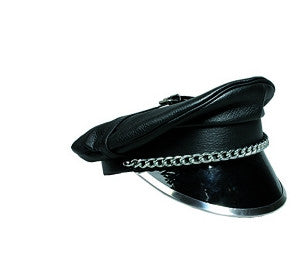 Leather Cap Top buckle Chain Metal-lined PVC brim.