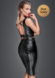 2 PC Wetlook Pencil Skirt and Top
