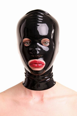 Latex Mask with Eye, Mouth and Nostril Holes with Zipper