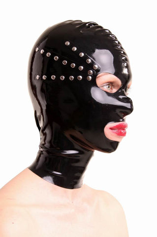 Latex Mask with Open Eyes, Mouth & Nostrils, Rivet Accenting