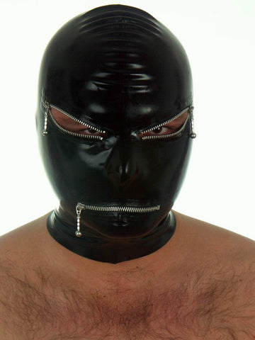 Latex Mask with Silver Eye & Mouth Zippers