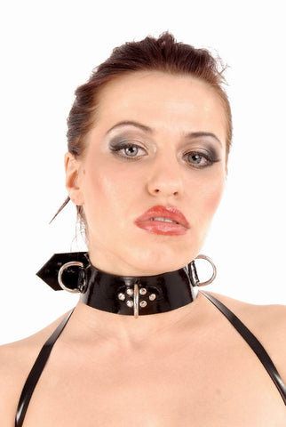 11' 1.8MM LATEX COLLAR WITH D RINGS AND METAL RIVET ACCENTS