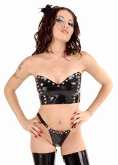 Latex Strapless Corset, Stud Accents, Back Lacing