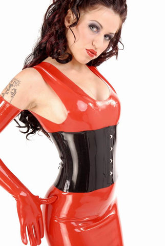 Latex Cincher Corset Lace Up Back, Clasps