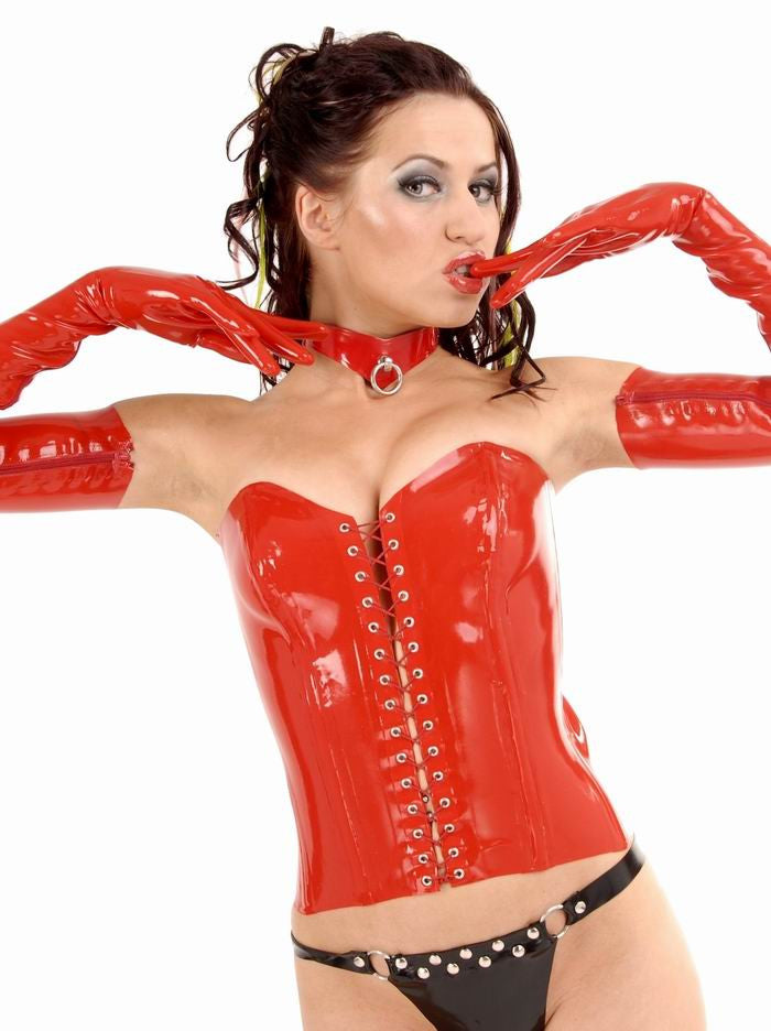 Full Breast Lace Up Front Latex Corset