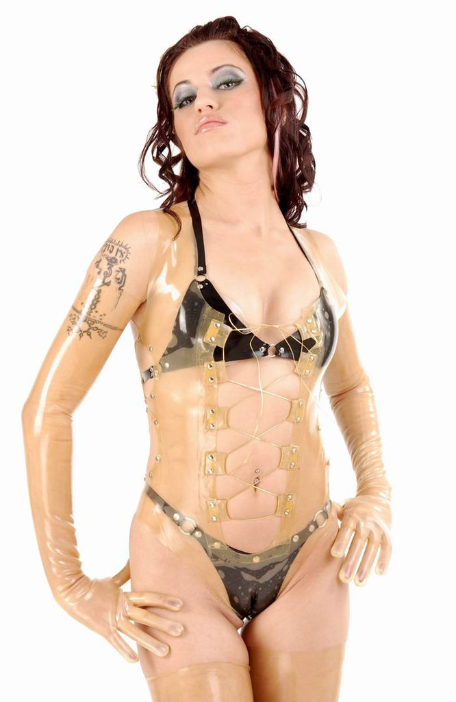 Latex Teddy, One Piece, Lace Up Studs, Cut-Outs