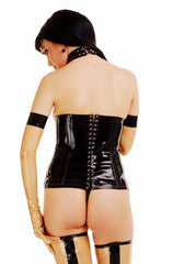 Latex Corset, Lace Up Back, Buckles on Front