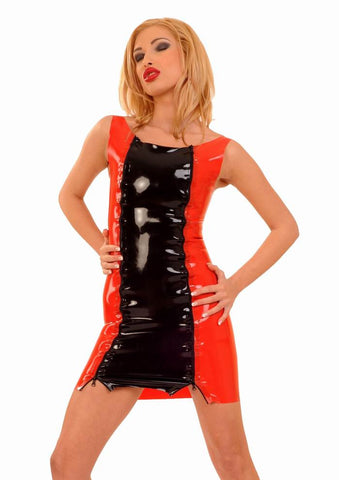 Mini Dress, Two Zippers in Front, Contrasting Front Panel