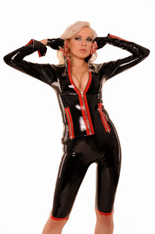 Latex Jacket With Multiple Zippers