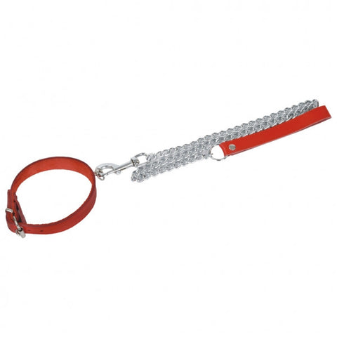 Red Beginner's Collar with O Ring & Leash; Thick Front and Buckle