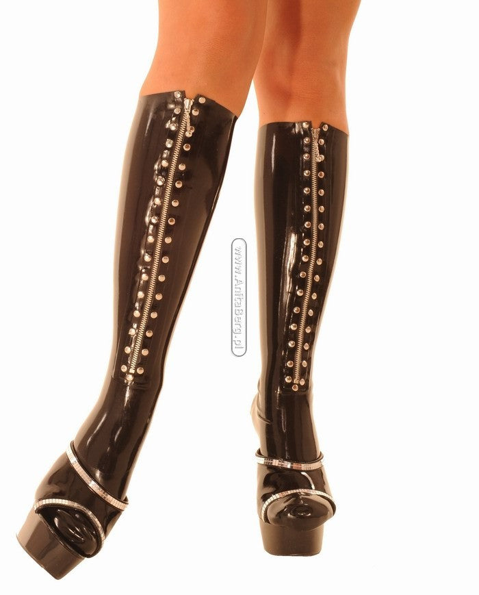 Knee-High Stockings,Front Zipper, Studded