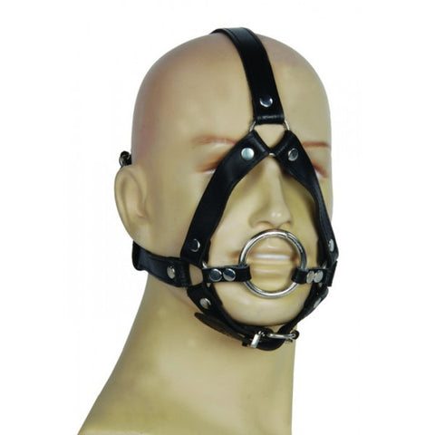 Silver Ring 50mm Open Gag with Headstrap