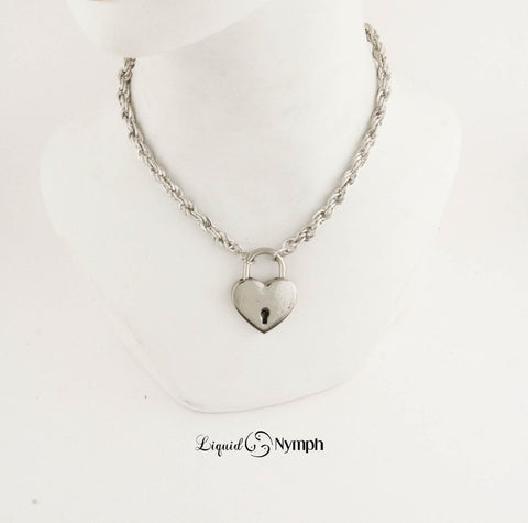 Chained Heart Padlock Necklace