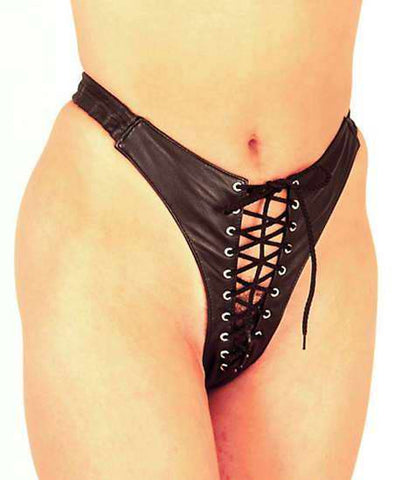 Leather Laced Front Thong
