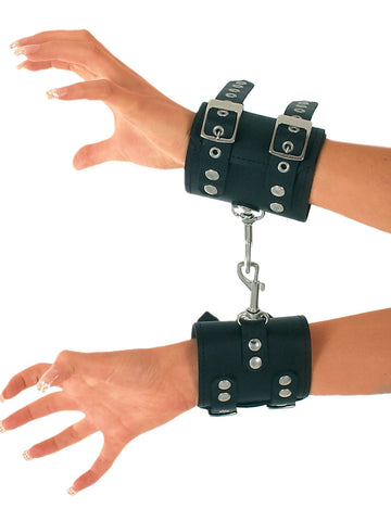 Leather Heavy Connecting Wrist Cuffs