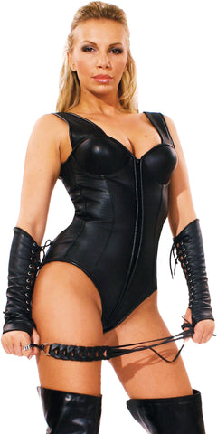 Simple Leather Teddy, Zipper Front