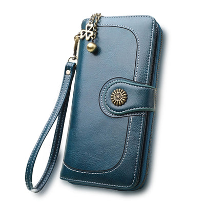 Split Leather Long Wallet for Women