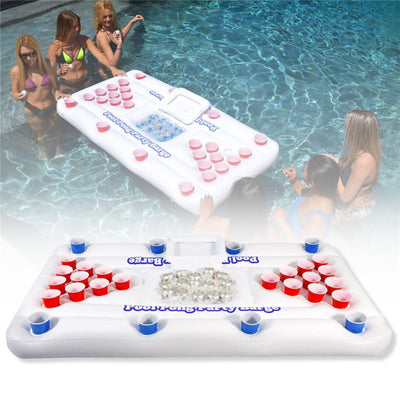 Inflatable Beer Pong Table with Ice Bucket Cooler