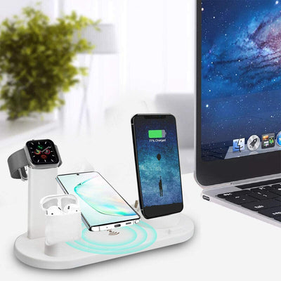 EXINOZ 3 in 1 Qi Wireless Charger Fast Charging Dock Stand for Airpods, Apple Watch, iPhone