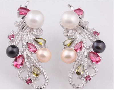 Colorful Freshwater Pearl Stud Earrings