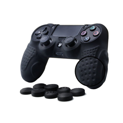 PS4 Controller DualShock 4 Skin Grip Anti-Slip Silicone Cover Protector Case for Sony PS4/PS4 Slim/PS4 Pro Controller with 8 Thumb Grips (Black) - Exinoz