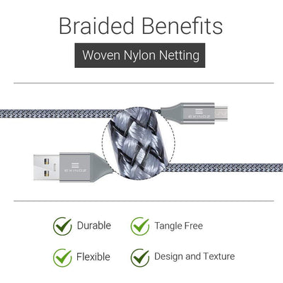 EXINOZ 6.6ft (2m) Braided Charger Cable | Micro USB | Ideal Length | 1 Year Replacement Warranty - Exinoz