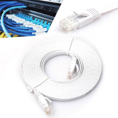 EXINOZ Ethernet UTP CAT6 Network Flat Patch Cable | For Google Wifi, Routers, Servers and Data Transfer | High-Speed Fully Copper Lead